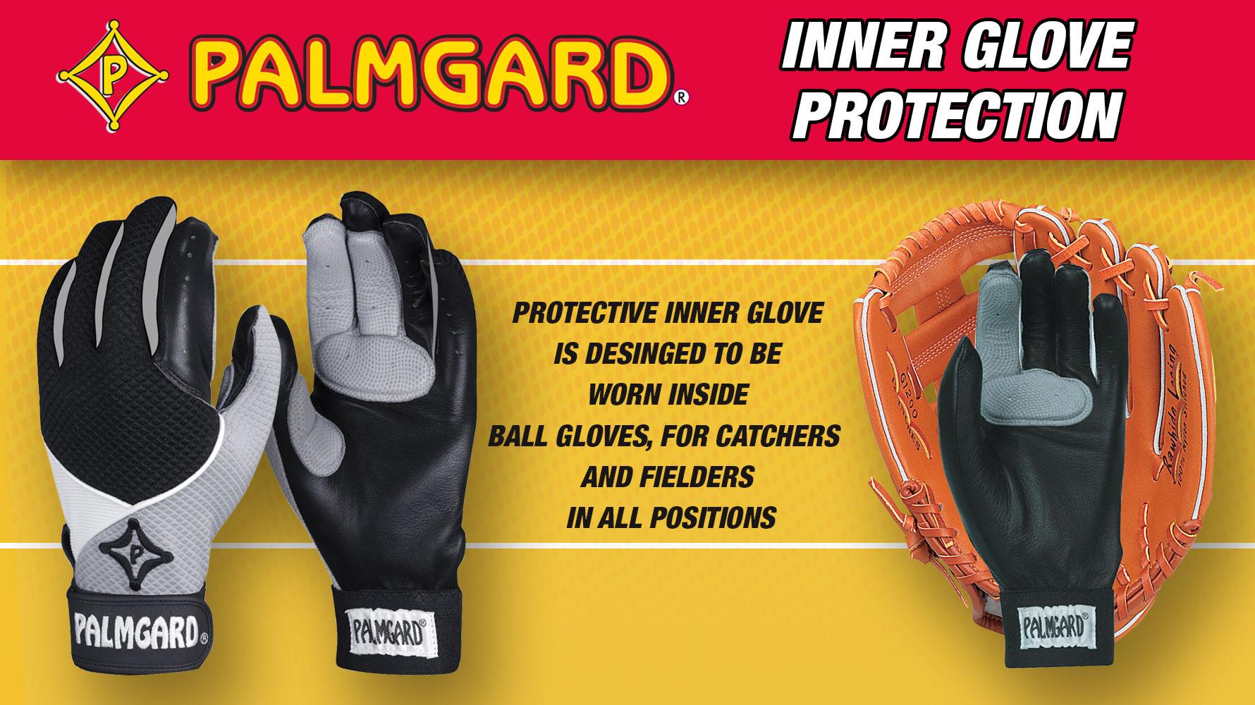 Palmgard Inner Glove WP with builit-in Wristgard for Baseball and Softball